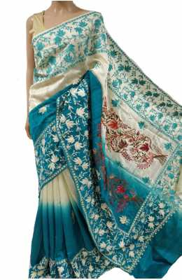 Off White Blue Embroidered Kashmiri Aari Work Tussar Silk Saree