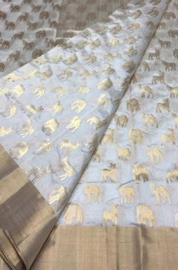 Off White Handloom Chanderi Pure Silk Animal Design Saree With Contrast Border - Luxurionworld