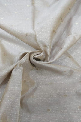 Off White Handloom Chanderi Silk Fabric (2.5 mtr) - Luxurionworld