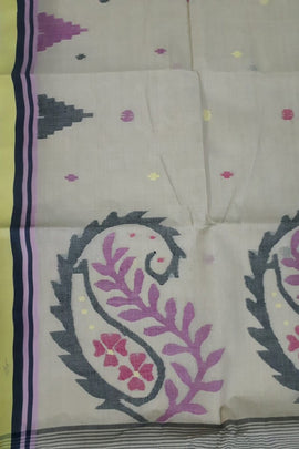 Off White Handloom Jamdani Pure Cotton Temple Design Saree - Luxurionworld