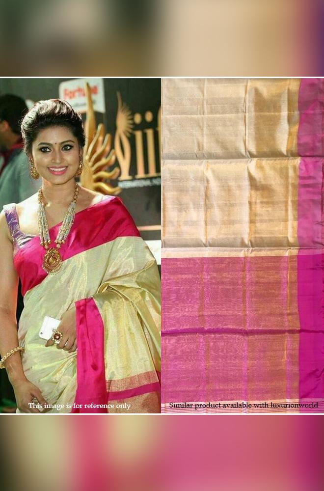 Off White Handloom Uppada Tissue Silk Saree With Pink Border - Luxurionworld