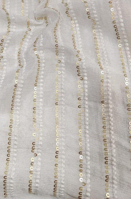 Off White Trendy Crepe Fabric ( 1 Mtr )