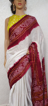 Off White Bandhani Pure Gajji Silk Saree