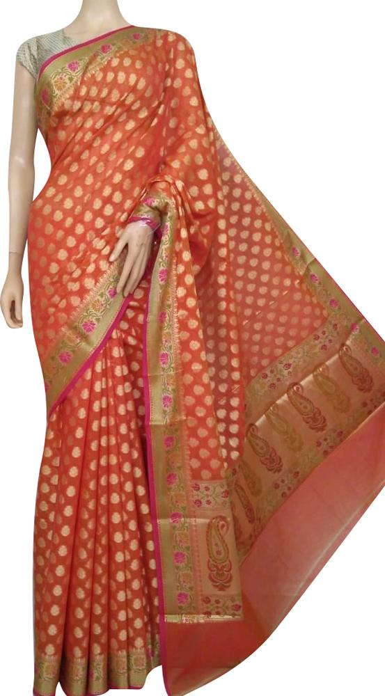 Orange Banarasi Silk Cotton Saree - Luxurionworld