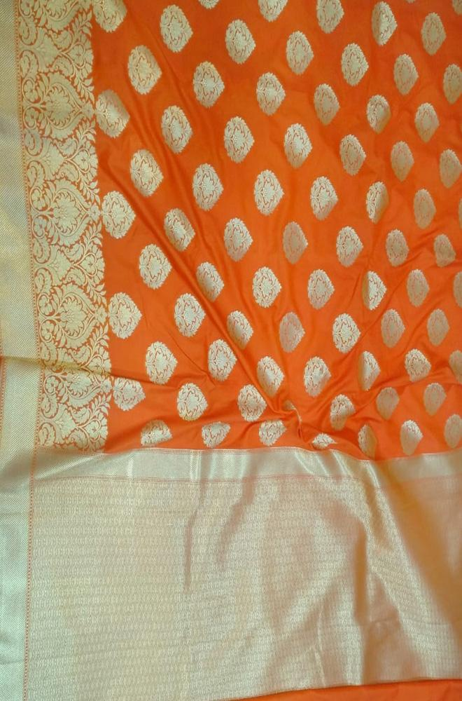 Orange Handloom Banarasi Georgette Silk Saree - Luxurionworld