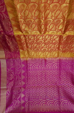 Orange Handloom Kanjeevaram Pure Silk Saree With Pink Border - Luxurionworld