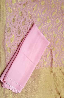 Pink Handloom Banarasi Georgette Dupatta Suit With Crepe Fabric - Luxurionworld