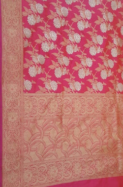 Pink Handloom Banarasi Pure Katan Silk Saree With Floral Design - Luxurionworld