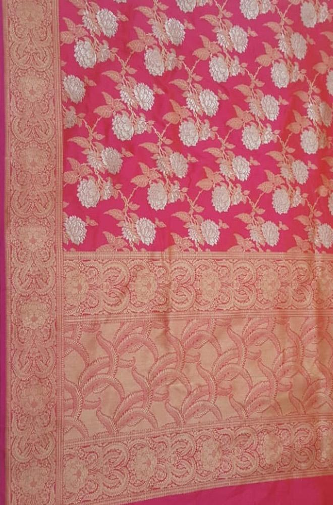 Pink Handloom Banarasi Pure Katan Silk Saree With Floral Design