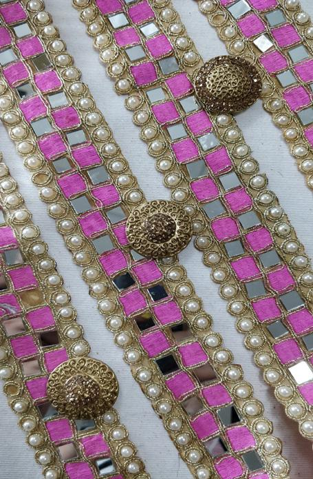 Pink Pearl And Cut Work Lace (9 mtrs) - Luxurionworld