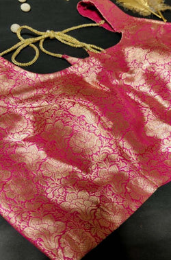 Pink Sleeveless Brocade Pure Katan Silk Blouse