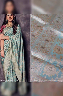 Powder Blue Handloom Banarasi Pure Katan Silk Kadwa Saree