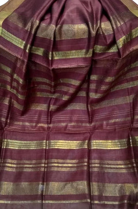 Purple Handloom Jharkhand Mulberry Tussar Silk Saree With Zari Border - Luxurionworld