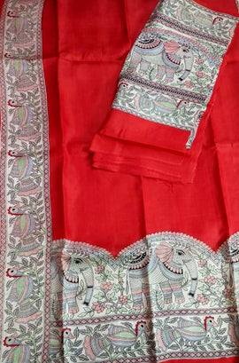 Red Hand Block Printed Madhubani Murshidabad Silk Unstitched Suit