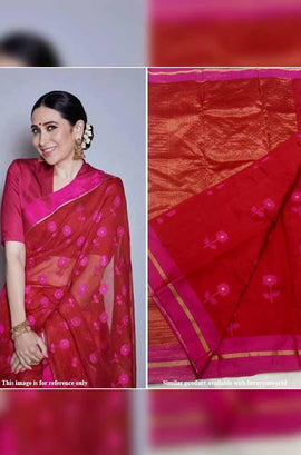 Red Handloom Chanderi Silk Saree With Pink Border