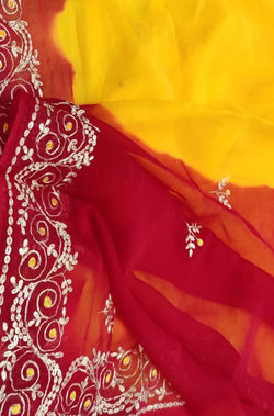 Yellow And Red Gota Patti Chiffon Saree