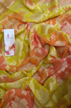 Yellow Handloom Banarasi Pure Georgette Floral Design Brush Dyed Dupatta