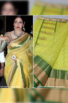 Yellow Handloom Chanderi Silk Saree With Green Border