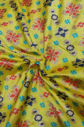 Yellow Handloom Patola Silk Meenakari Fabric ( 1 mtr) - Luxurionworld