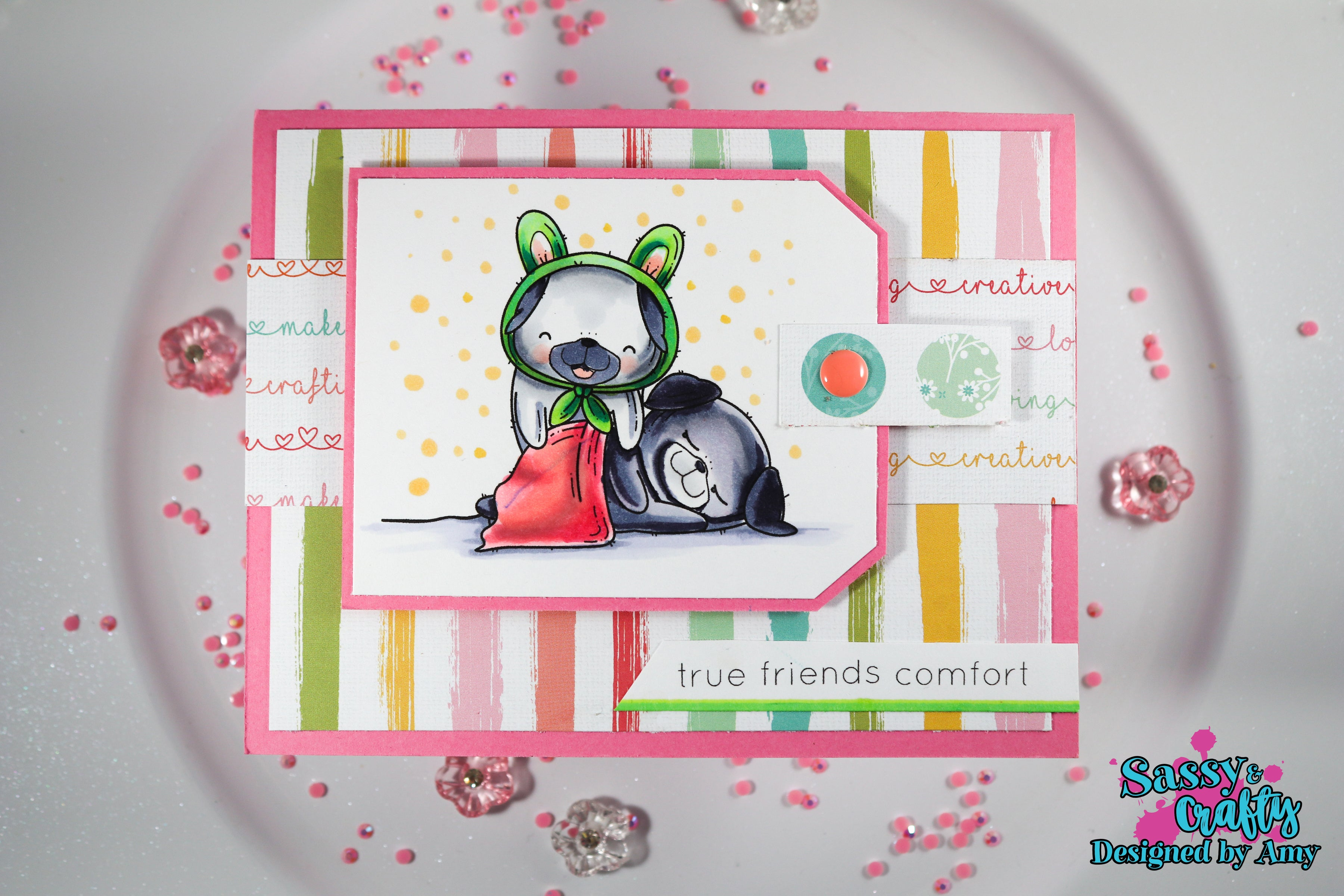 Plushies- Friendly Pugs 4x6 Stamp Set - Sassy and Crafty