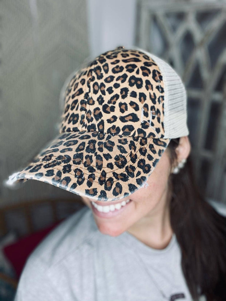 Dirty Bee CrissCross Ponytail Caps (Leopard)