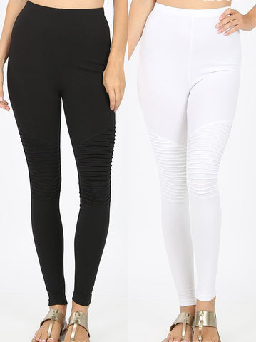 Cotton Moto Leggings (Black)