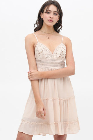 Not Your Babe Crochet Dress (Natural)