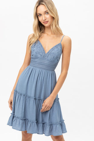 Not Your Babe Crochet Dress (Blue)
