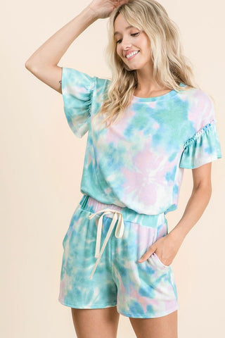 Pastel Mint Tie-Dye Lounge Set