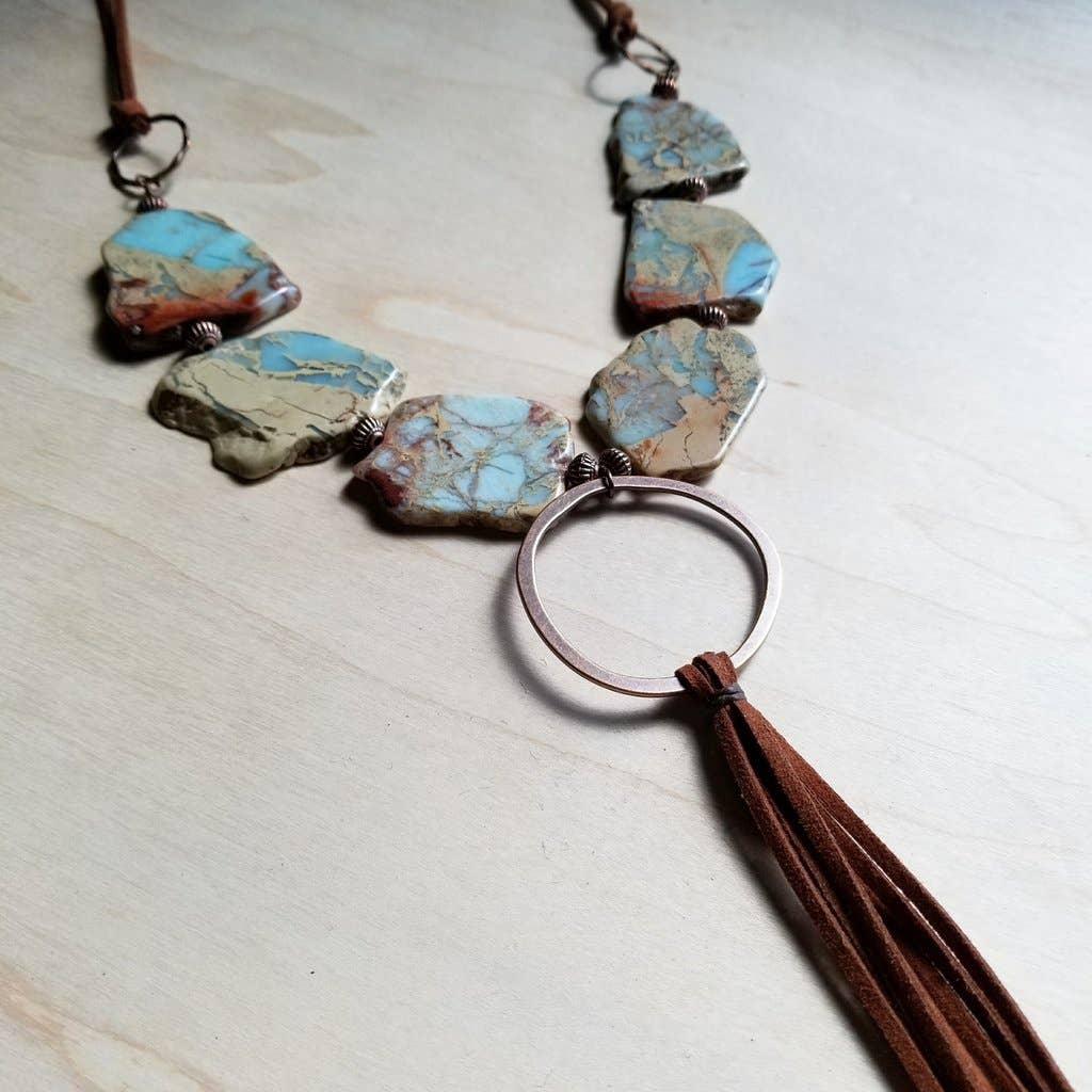 Aqua Terra Slab Necklace with Fringe Tassel