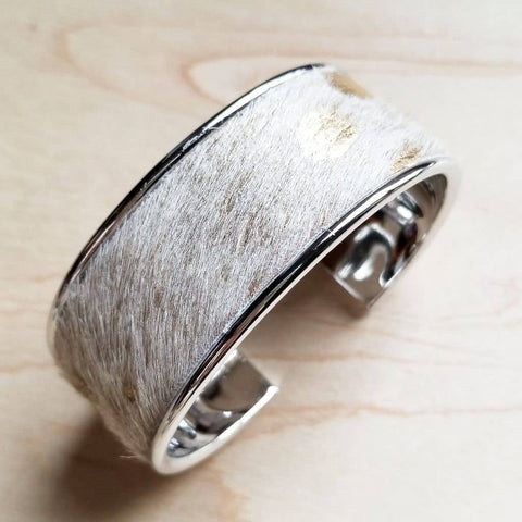 Hair-on-Hide Cream and Gold Leather Bangle Bracelet Narrow
