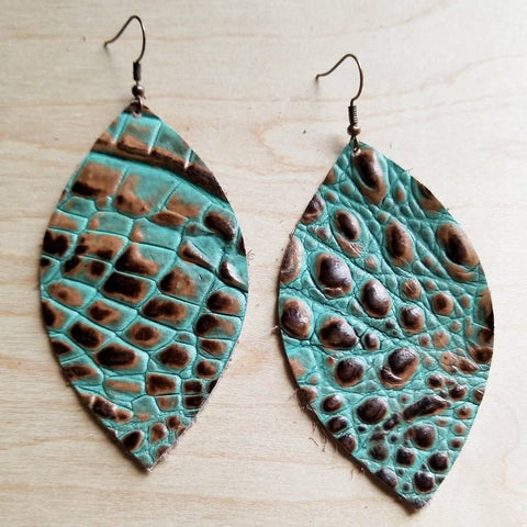 Brown and Turquoise Leather Oval Earrings