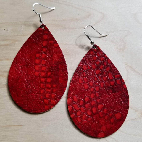 Red Gator Leather Teardrop Earrings