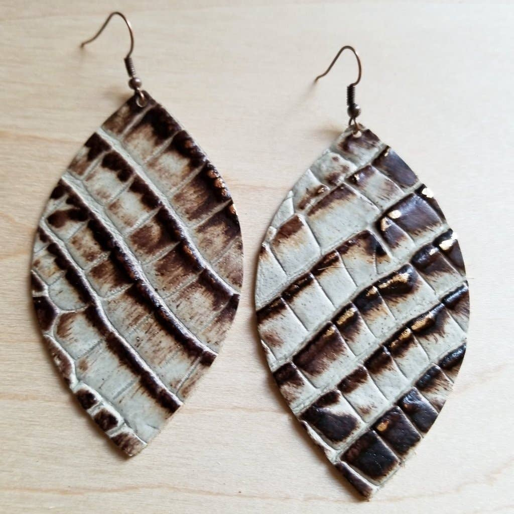 Brown and Cream Leather Oval Earrings