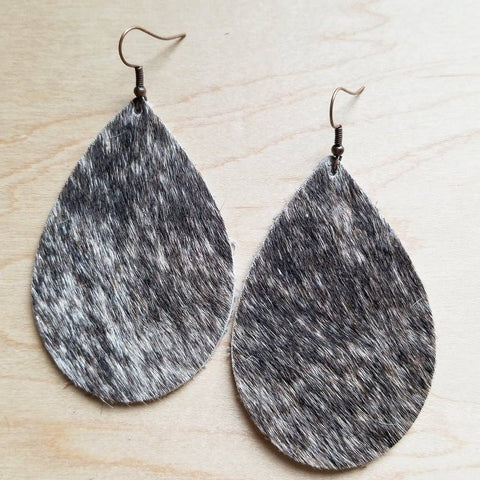 Tan Brown and White Leather Teardrop Earrings