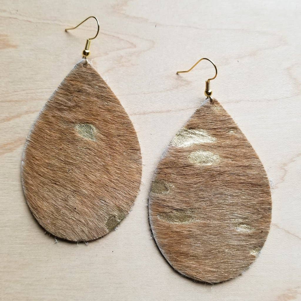Tan and Gold Leather Teardrop Earrings