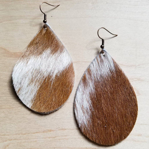 Tan and White Teardrop Earrings