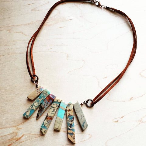 Aqua Terra Leather Cord Necklace