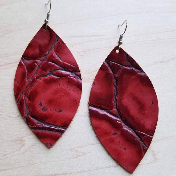 Red Gator Leather Oval Earrings