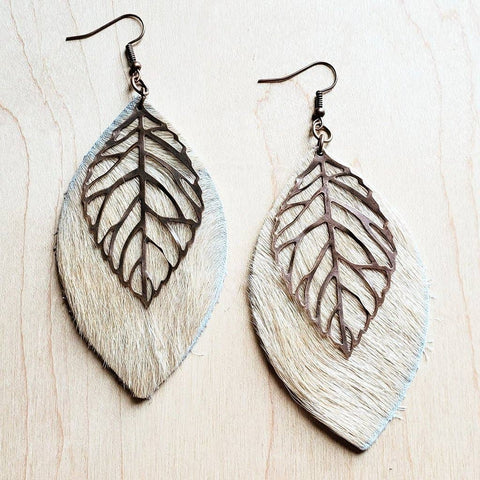 Leather Oval Earrings in Blond Hair on Hide Copper Feathers