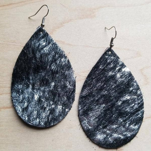 Leather Teardrop Earrings in Black and Silver Hair-on-Hide