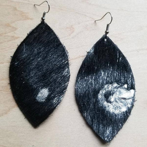 Leather Oval Earrings Black and Silver Metallic Hair-on-Hide
