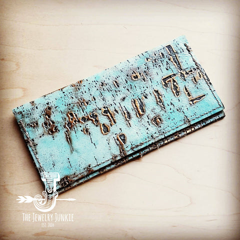 Embossed Leather Wallet-Turquoise Metallic 300g