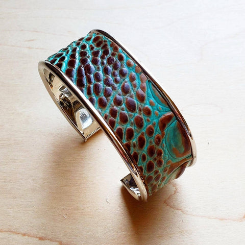 Narrow Cuff Bangle Bracelet in Turquoise Gator Leather