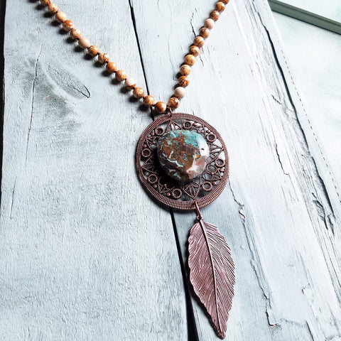 Picture Jasper Necklace w/ Ocean Agate on Copper Medallion