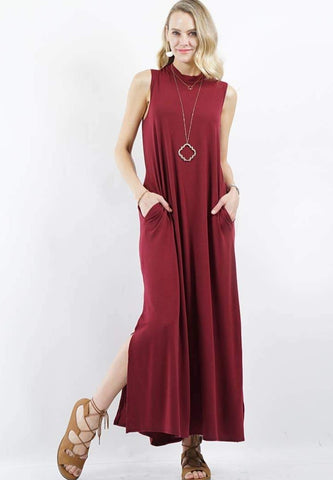 Mock Neck Pocket Maxi Dress (Burgundy)