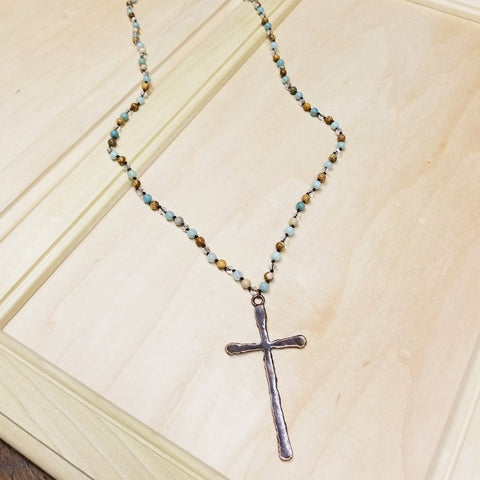 Amazonite with Large Copper Cross Pendant Necklace