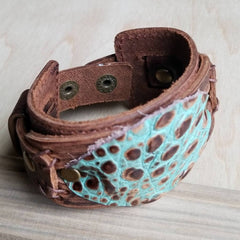 Turquoise Gator Leather Cuff
