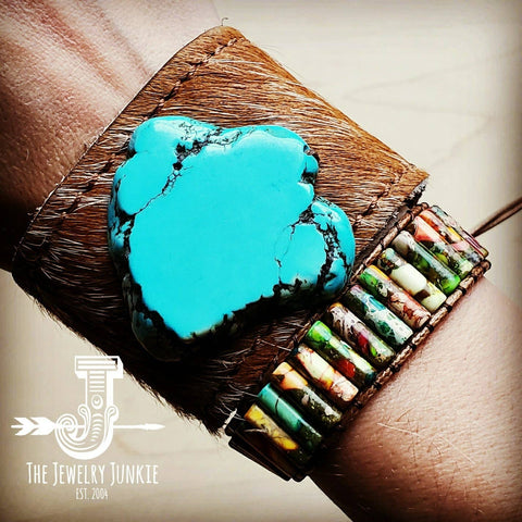 Leather Cuff with Tie - Tan Hide and Turquoise Slab
