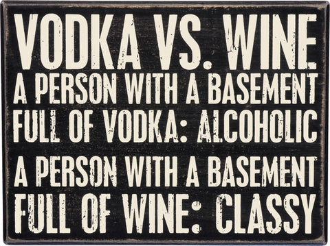 Vodka vs. Wine Box sign
